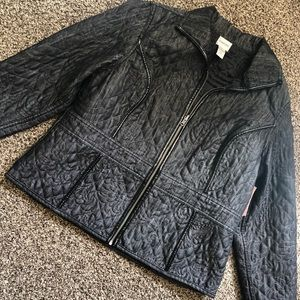 CHICOS Quilted size 3 reversible zipper Jacket